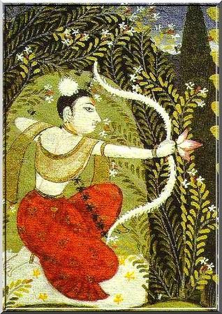 Kâma, le divinité hindoue du désir amoureux.Inde.