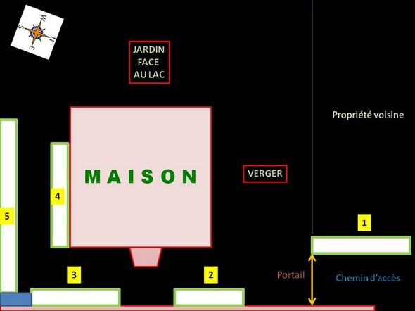 Schéma de l'implantation du jasmin dans notre propriété à l'Isola Maggiore (Umbria).