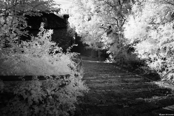 Un large escalier mène du tertre où a été construit la chiesa di San Salvatore au chemin qui relie à gauche la via Guglielmi et, à droite, la plage de l'Isola.