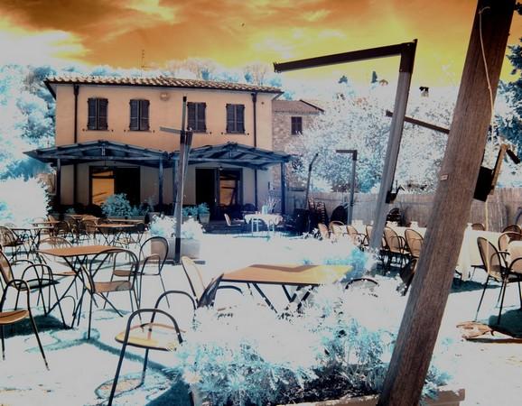 Jardin-terrasse du restaurant L'Oso à l'Isola Maggiore.