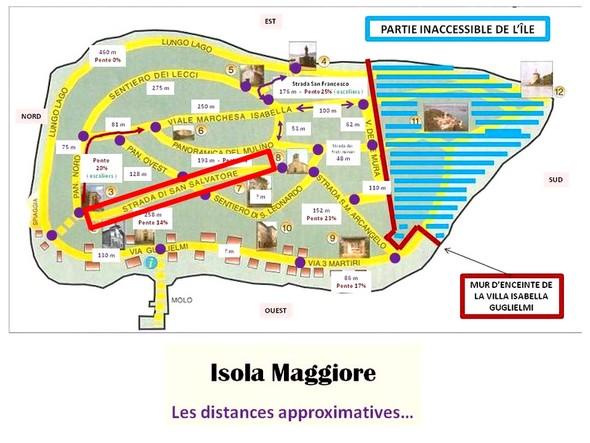 La strada di San Salvatore est encadrée en rouge vif...