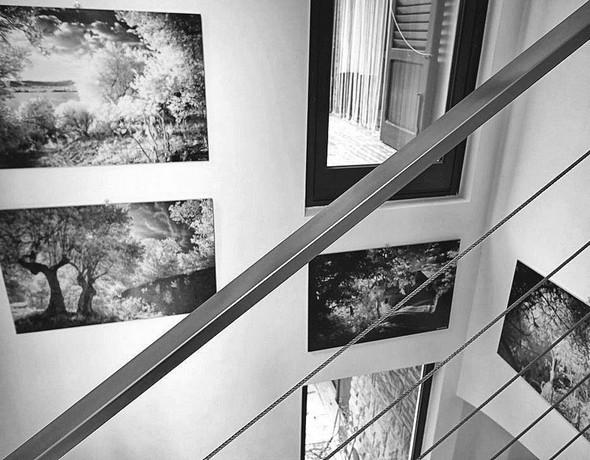 Début d'une exposition photographique dans l'escalier moderne de notre maison à l'Isola Maggiore ?