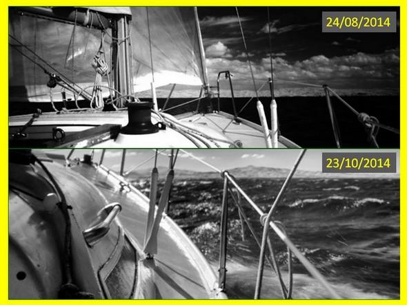 Comparaison de la force du vent et de l'ampleur des vagues :photo en haut, le 24/08/2014,photo du dessous, le 23/10/2015.