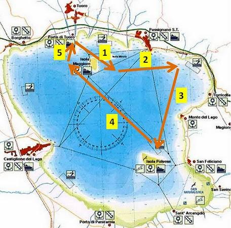 Carte nautique du lac Trasimène montrant notre navigation durant la matinée du 23/10/2015.