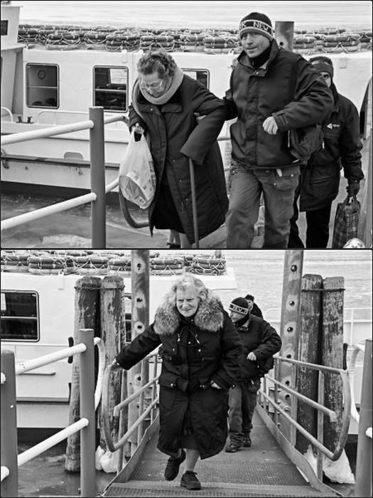 Ritorno all'Isola Maggiore delle persone più anziane che hanno dovuto essere evacuate quando il Trasimeno è stato congelato nel febbraio 2012.