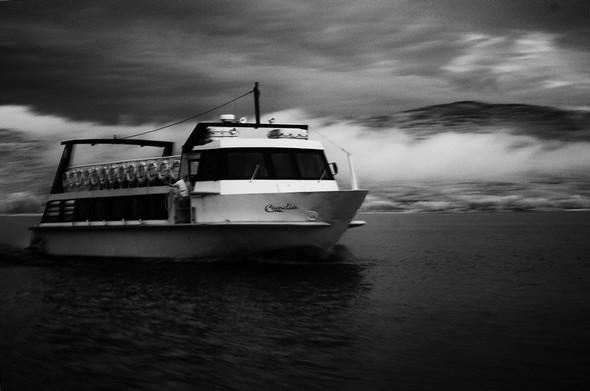 """Il traghetto """"Camelia"""" naviga verso l'Isola Maggiore..."""