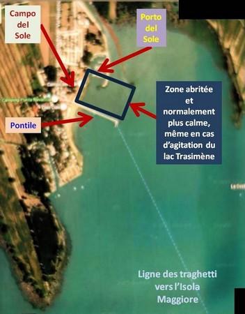 Carte du lieu d'arrivée des traghetti à Tuoro-Navaccia, partie de l'estuaire du Porto del Sole.