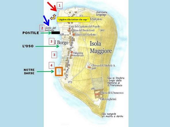 Plan commenté de l'Isola Maggiore.La flèche BLEUE indique le cap que j'aurais du suivre pour aboutir directement au pontile.La flèche ROUGE indique à quel endroit je suis réellement arrivé.Les chiffres rouges encadrés se rapportent aux différents groupes de photos ci-dessous.
