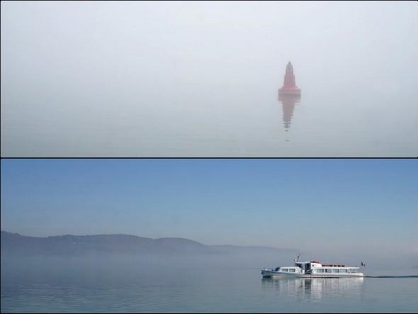 Contraste renversant du décor lors d'une traversée du lac Trasimène à deux jours d'intervalle en décembre 2015.<br />Au-dessus, noyé dans le brouillard le 15 décembre 2015.<br />En-dessous, une grande clarté bleutée le 17 décembre 2015.