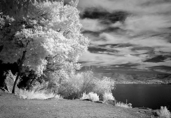 Vue sur le lac Trasimène depuis l'esplanade de San Francesco, à l'extrémité du lungolago.Isola Maggiore.