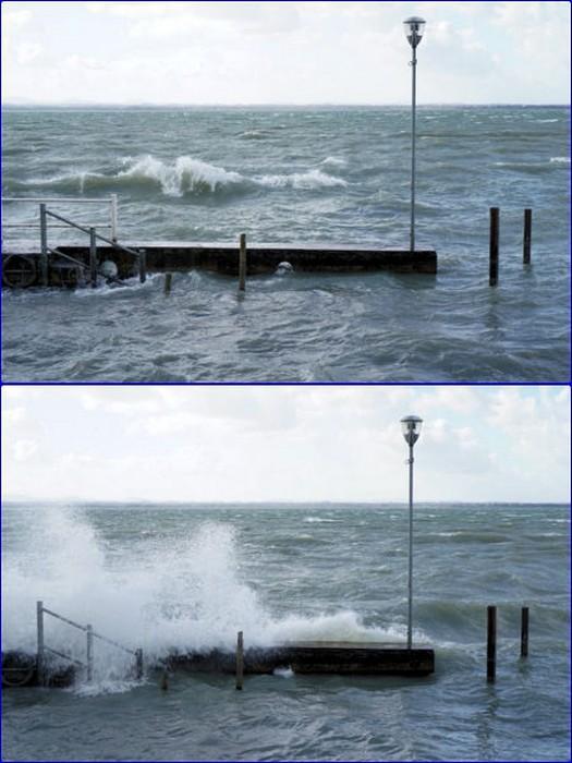 Le vent souffle à nouveau.Des vagues remontent à l'assaut de la digue de notre darse.
