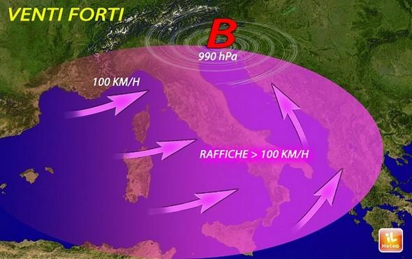 Carte météo pour les 9 et 10 février 2016.Violents vents du Ponant avec des rafales supérieures à 100 km/H.