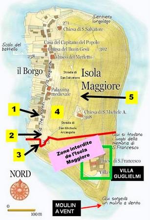 Plan de l'Isola Maggiore. Les zones où les photos ont été réalisées sont numérotées !