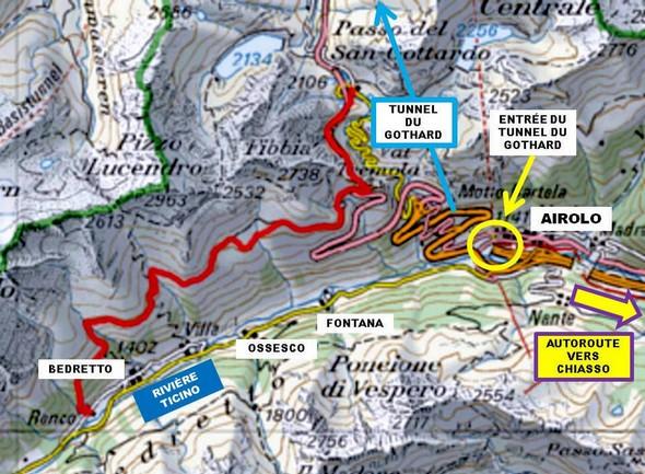 Carte pour situer Bedretto, lieu réel de notre étape !