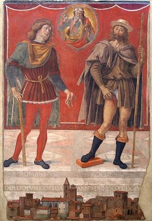La fresque  avec le Père Éternel bénissant et les saints Rocco et Romano.<br />Au bas de cette fresque, une vue de la ville.<br />1477-1478<br />Le Pérugin.