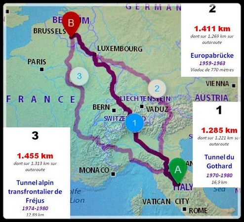 Les trois options d'itinéraires suggérées par le site de Michelin.