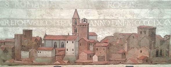 """Vue de Deruda.Détail de la fresque """""""" Eterno e Santi Romano et Rocco"""", réalisée par Le Pérugin.Pinacoteca Comunale, Deruda.Environ 1477-1478."""