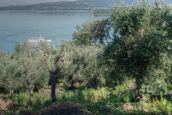 Un epu avant l'arrivée au sommet, des trouées permettent d'apercevoir à gauche le ponte de l'Isola Maggiore et le ballet des traghetti.
