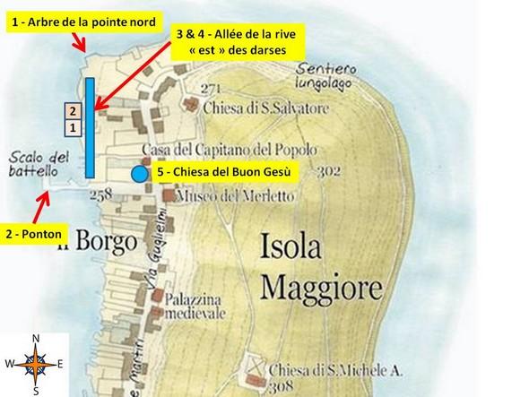 Carte partielle de l'Isola Maggiore utile pour la localisation des deux darses.L'emplacement des cinq photos numérotées ci-dessous est bien indiqué.