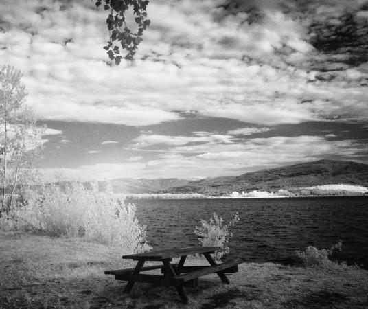 Invitation à pique-niquer au bord du Trasimène.Au fond, sur la rive, Tuoro ensoleillé.