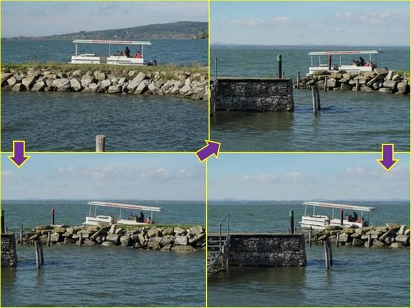 Guardate queste foto successive seguendo la direzione delle frecce. Questo vi aiuterà a realizzare il beccheggio sofferto dalla barca di Maurizio.