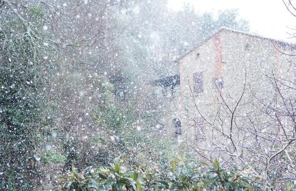 Brutale bourrasque de neige.La maison à notre gauche est partiellement estompée par l'abondance des flocons de neige.5/01/2017      -       15:40