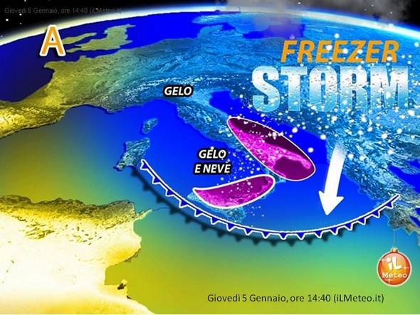 Carte météo du 5 janvier 2016, à 14:40.<br />On y voit l'influence de la descente de courants arctiques.<br />Les deux zones en violet indiquent les régions où neige et gel sont attendus.<br />Le sommet supérieur de la zone de droite est pratiquement à hauteur du centre de l'Italie, donc proche de chez nous.
