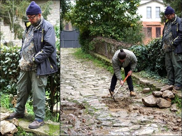 Toujours les mêmes : Cristiano qui creuse et Edoardo qui supervise !