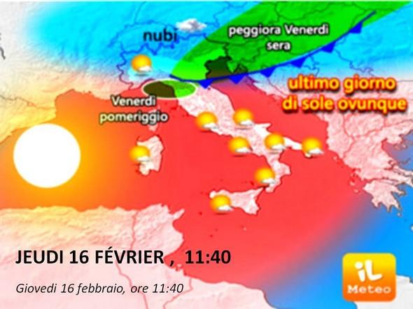Carte météo du 16 février.L'anticyclone y est encore dominant.Mais, hélas, l'approche d'une dégradation du temps y est imminente !