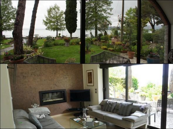 Au-dessus, surface vitrée de la salle à manger.En-dessous, le salon avec également une grande surface vitrée donnant sur le jardin et le lac.
