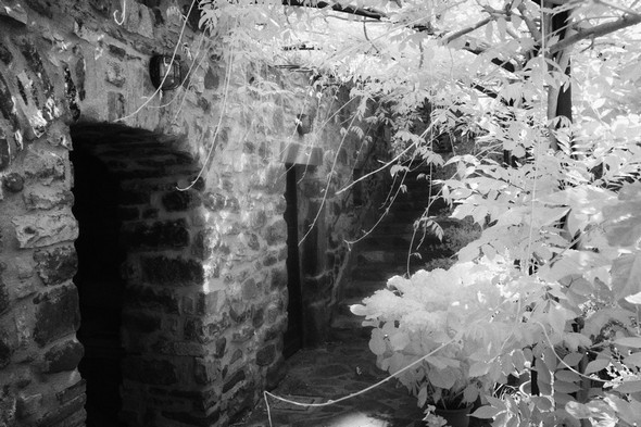 Entrée latérale d'une maison du côté nord de la via Guglielmi.La porte sur la gauche, donne accès à un ancien four de l'Isola Maggiore.