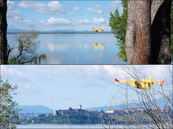 L'hydravion a fini de décoller et met le cap vers Castiglione del lago.09:53