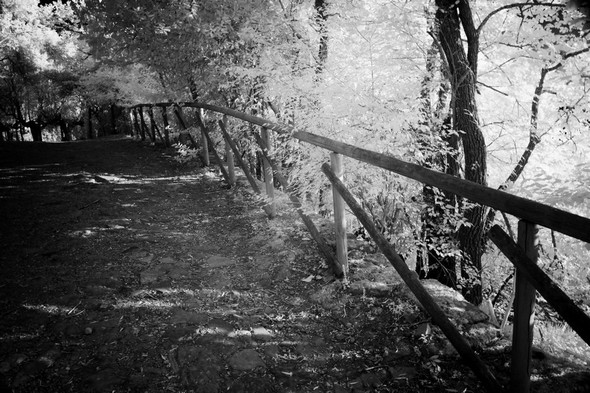 Via Tre Martiri.Rambarde en bois, côté lac.
