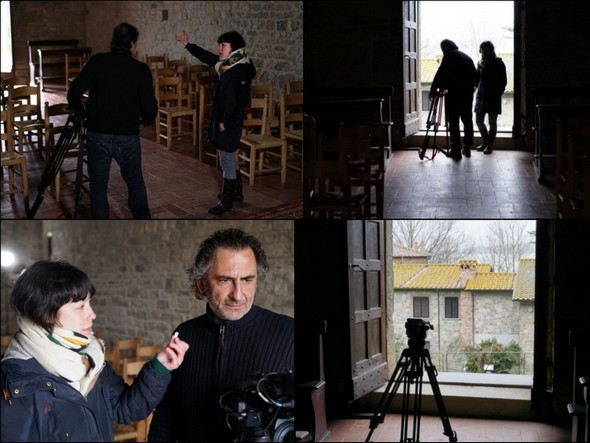 Les deux reporters d'ARTE en plein tournage.Chiesa di San Salvatore.6 mars 2017.