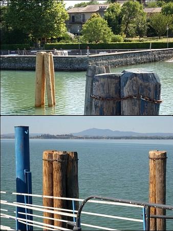 Isola Maggiore.Au-dessus, un nouveau trépied de protection, face à une des deux darsena.En-dessous, passerelle latérale sud, face à Castiglione del Lago.