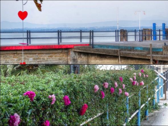Decorazione del pontile dei traghetti all'Isola Maggiore.