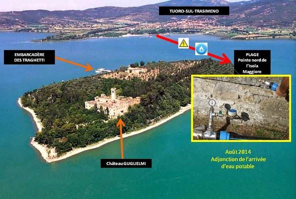 Installation d'une canalisation d'eau potable entre Tuoro et l'Isola Maggiore.Photo explicative.