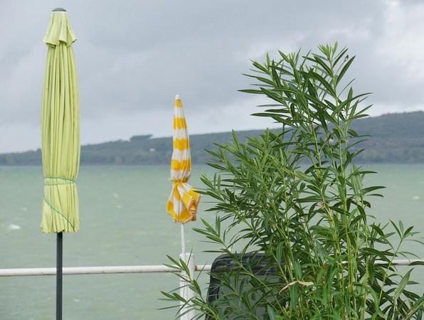 Au bout de notre jardin, en direction de Punta Navaccia.Le ciel s'est éclairci ainsi que le vert du lac.08:00