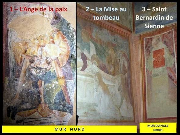 Mur nord et mur d'angle à gauche.Les trois fresques du XV° siècle.