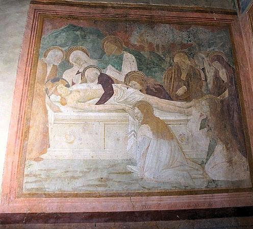 La Mise au tombeau.1446Maestro del Trittico di Camerino.Peintre italien anonyme de la Renaissance.Actif dans Les Marches et à Pérouse.