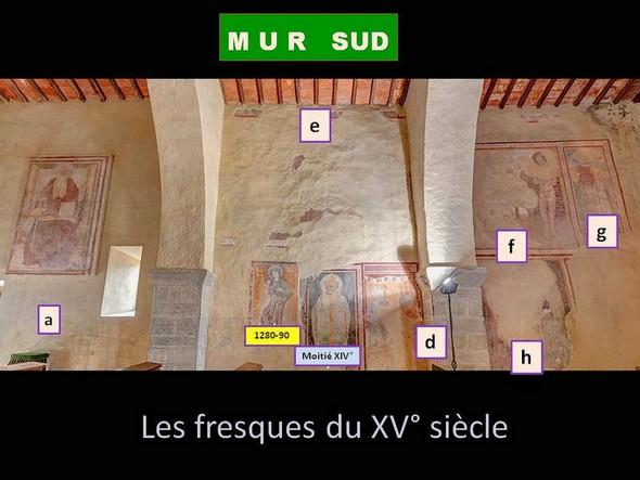Chiesa di San Michele Arcangelo.Vue générale du mur sud.Sont du XV° siècle les fresques a, d, e, f, g, h.