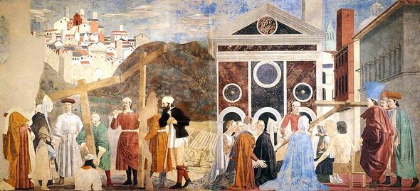 EXEMPLE DE SON STYLE.Découverte et preuve de la Vraie Croix.Pieri della Francesca.Découverte et preuve de la Vraie Croix.Pieri della Francesca.