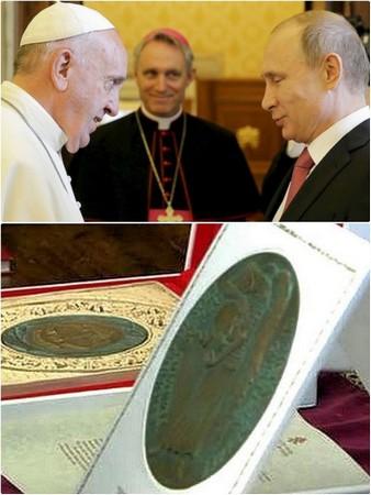 Deuxième visite de Vladimir Poutine au Vatican.<br />Le Pape François remet au président russe un médaillon peu connu. <br />10 juin 2015