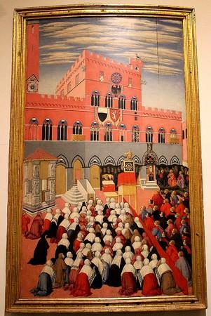 "Prédication de San Bernardino.Panneau ""a tempera"" de Sano di Pietro.Museo dell'Opera del Duomo (Siena).1445"