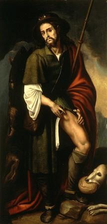 Saint Roch. Peint par Francisco Ribalta. Vers 1625. Habillé en pèlerin. Montre trace de peste bubonique sur cuisse gauche. Le chien qui lui apportait à manger dans les bois.