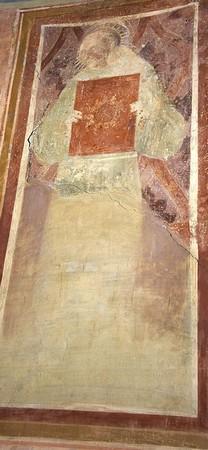 Saint Bernardin.Maestro del Trittico di Camerino.Mur d'angle nord de la nef.Chiesa di San Michele Arcangelo.