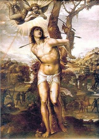 Saint Sébastien. <br />Par Le Sodoma.<br />Huile sur toile.<br />1525<br />Galerie des Offices, Florence.