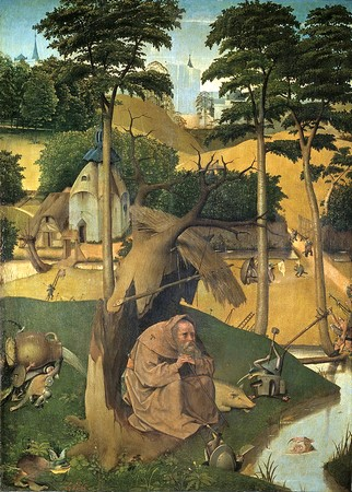 La tentation de saint Antoine.Par Jérôme Bosch.