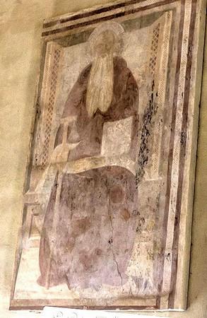 a - Sant'Antonio abate.Habit marron d'abbé.Bâton en forme de T avec clochette.Moitié du XV°.