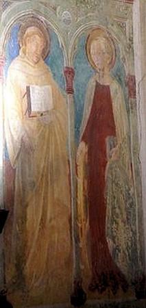 Saint Antoine et sainte Catherine d'Alexandrie.Mur droit, faisant face à la nef.Aux alentours de 1460.